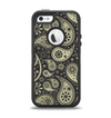 The Black & Vintage Green Paisley Apple iPhone 5-5s Otterbox Defender Case Skin Set