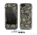 The Black & Vintage Green Paisley Skin for the Apple iPhone 5c LifeProof Case