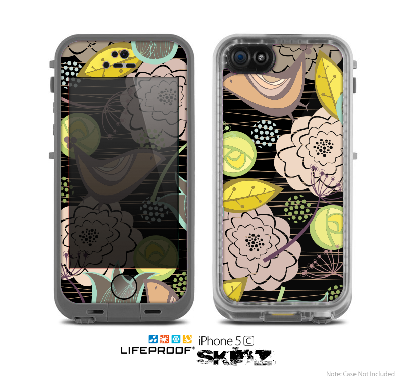 The Black Vintage Tan & Gold Vector Birds with Flowers Skin for the Apple iPhone 5c LifeProof Case
