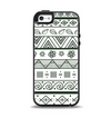 The Black & White Floral Aztec Pattern Apple iPhone 5-5s Otterbox Symmetry Case Skin Set