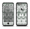 The Black & White Floral Aztec Pattern Apple iPhone 6/6s Plus LifeProof Fre Case Skin Set