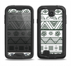 The Black & White Floral Aztec Pattern Samsung Galaxy S4 LifeProof Nuud Case Skin Set