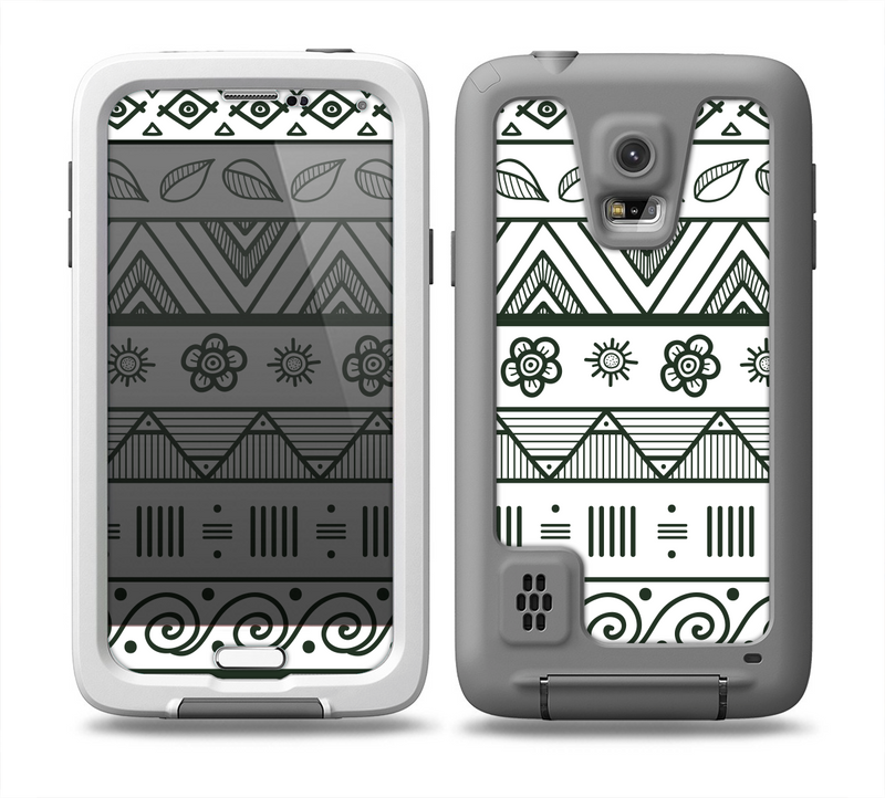 The Black & White Floral Aztec Pattern Skin for the Samsung Galaxy S5 frē LifeProof Case