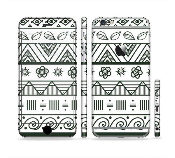 The Black & White Floral Aztec Pattern Sectioned Skin Series for the Apple iPhone 6 Plus