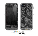 The Black & White Floral Lace Skin for the Apple iPhone 5c LifeProof Case