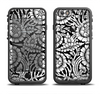 The Black & White Mirrored Floral Pattern V2 Apple iPhone 6/6s Plus LifeProof Fre Case Skin Set