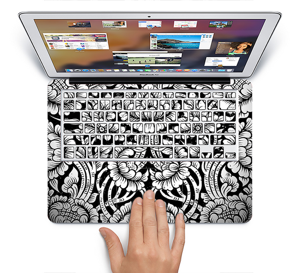 The Black & White Mirrored Floral Pattern V2 Skin Set for the Apple MacBook Air 11""