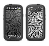 The Black & White Mirrored Floral Pattern V2 Samsung Galaxy S4 LifeProof Fre Case Skin Set