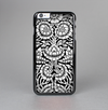 The Black & White Mirrored Floral Pattern V2 Skin-Sert Case for the Apple iPhone 6 Plus