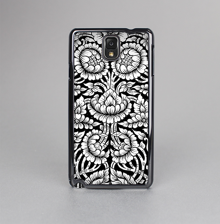The Black & White Mirrored Floral Pattern V2 Skin-Sert Case for the Samsung Galaxy Note 3