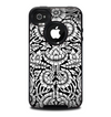 The Black & White Mirrored Floral Pattern V2 Skin for the iPhone 4-4s OtterBox Commuter Case