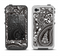 The Black & White Paisley Pattern V1 Apple iPhone 4-4s LifeProof Fre Case Skin Set
