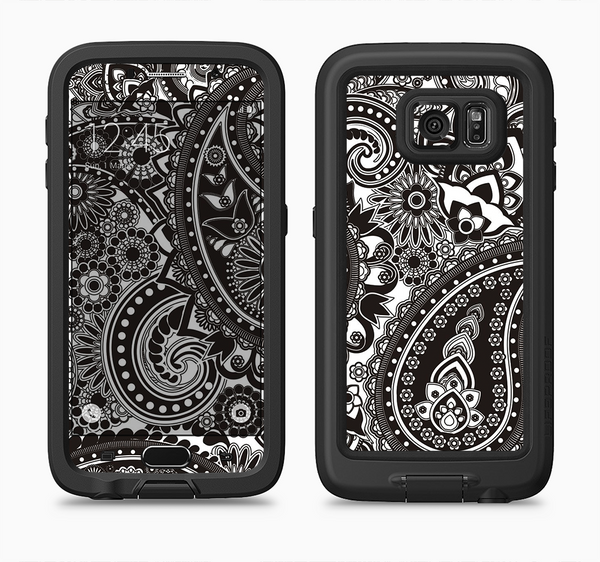 The Black & White Pasiley Pattern Full Body Samsung Galaxy S6 LifeProof Fre Case Skin Kit