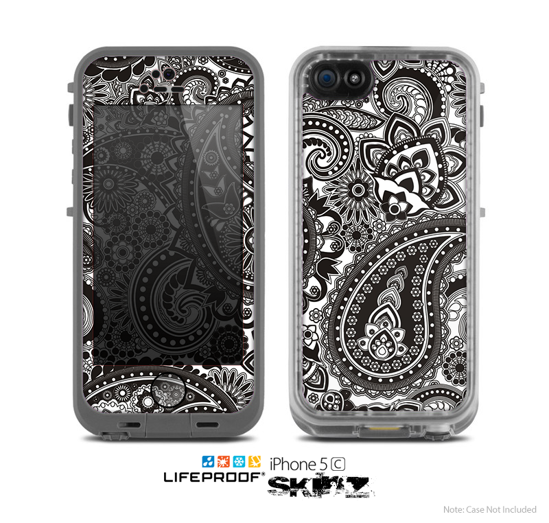 The Black & White Pasiley Pattern Skin for the Apple iPhone 5c LifeProof Case