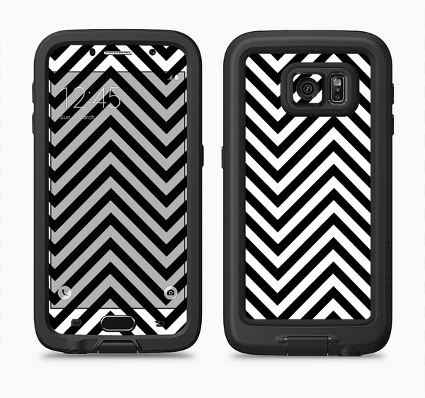 The Black & White Sharp Chevron Pattern Full Body Samsung Galaxy S6 LifeProof Fre Case Skin Kit