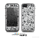 The Black & White Technology Icon Skin for the Apple iPhone 5c LifeProof Case