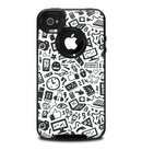 The Black & White Technology Icon Skin for the iPhone 4-4s OtterBox Commuter Case