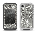 The Black & White Vector Floral Connect Apple iPhone 4-4s LifeProof Fre Case Skin Set