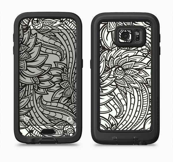 The Black & White Vector Floral Connect Full Body Samsung Galaxy S6 LifeProof Fre Case Skin Kit