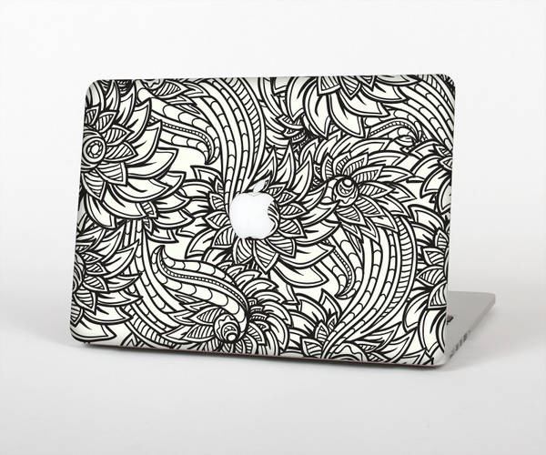The Black & White Vector Floral Connect Skin Set for the Apple MacBook Air 11""