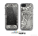 The Black & White Vector Floral Connect Skin for the Apple iPhone 5c LifeProof Case