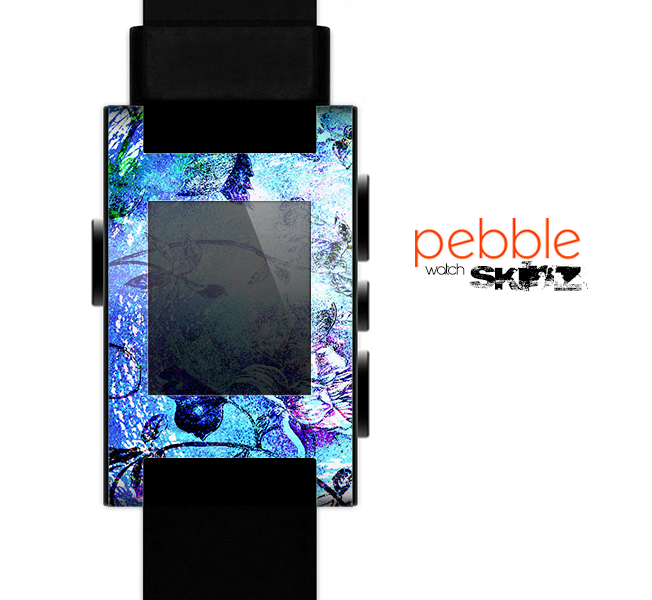 The Black & Bright Color Floral Pastel Skin for the Pebble SmartWatch
