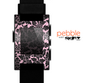 The Black & Pink Floral Design Pattern V2 Skin for the Pebble SmartWatch