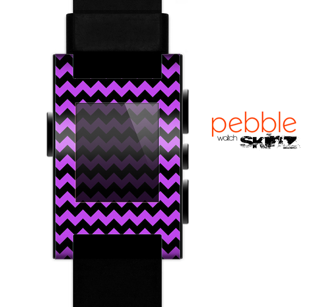 The Black & Purple Chevron Pattern Skin for the Pebble SmartWatch