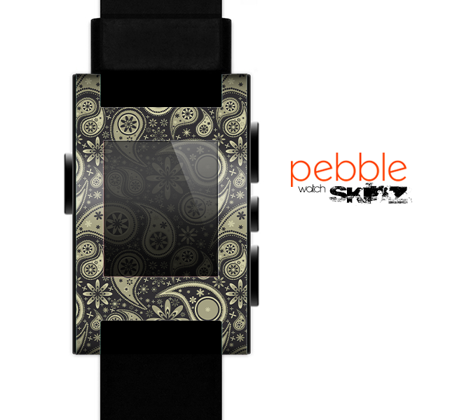 The Black & Vintage Green Paisley Skin for the Pebble SmartWatch