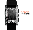 The Black & White Mirrored Floral Pattern V2 Skin for the Pebble SmartWatch