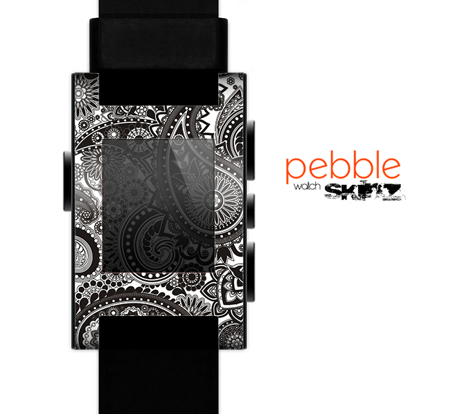 The Black & White Paisley Pattern Skin for the Pebble SmartWatch
