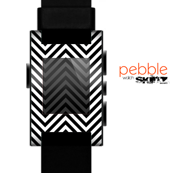 The Black & White Sharp Chevron Pattern Skin for the Pebble SmartWatch