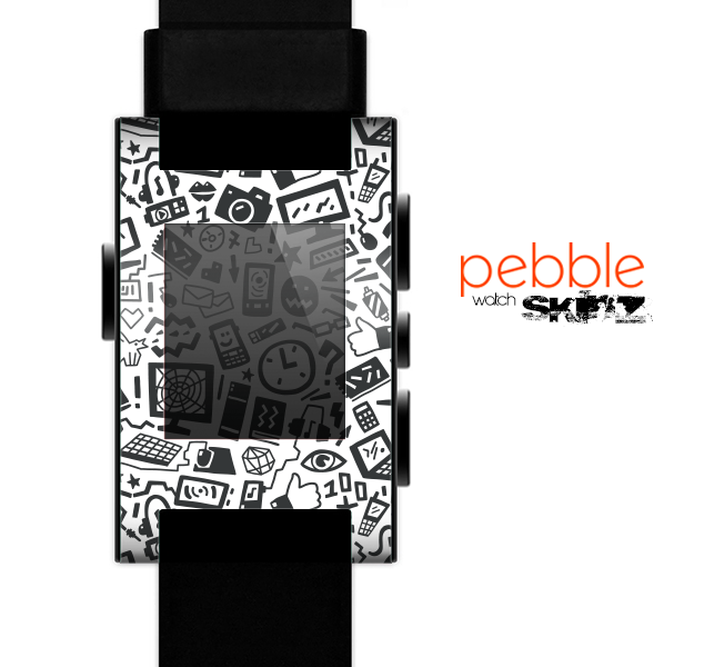 The Black & White Technology Icon Skin for the Pebble SmartWatch