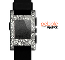 The Black & White Vector Floral Connect Skin for the Pebble SmartWatch