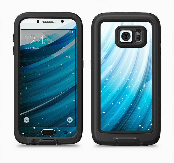 The Black and Blue Highlighted HD Wave Full Body Samsung Galaxy S6 LifeProof Fre Case Skin Kit