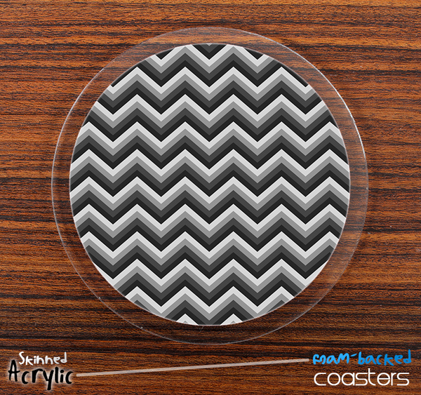 The Black and Gray Chevron V2 Pattern Skinned Foam-Backed Coaster Set