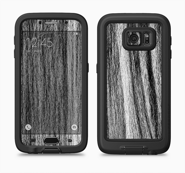 The Black and Grey Frizzy Texture Full Body Samsung Galaxy S6 LifeProof Fre Case Skin Kit
