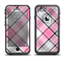 The Black and Pink Layered Plaid V5 Apple iPhone 6/6s LifeProof Fre Case Skin Set