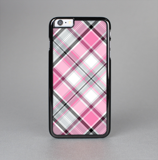 The Black and Pink Layered Plaid V5 Skin-Sert Case for the Apple iPhone 6 Plus