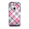 The Black and Pink Layered Plaid V5 Skin for the iPhone 5c OtterBox Commuter Case