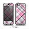The Black and Pink Layered Plaid V5 Skin for the iPhone 5c nüüd LifeProof Case
