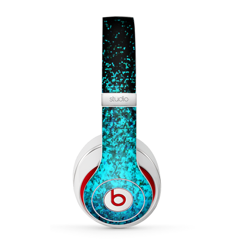 The Black and Turquoise Unfocused Sparkle Print Skin for the Beats by Dre Studio (2013+ Version) Headphones