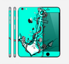 The Black and White Anchor with Roses Over Teal Skin for the Apple iPhone 6 Plus