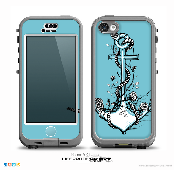 The Black and White Anchor with Roses Skin for the iPhone 5c nüüd LifeProof Case