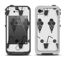 The Black and White Icecream and Drink Pattern Apple iPhone 4-4s LifeProof Fre Case Skin Set
