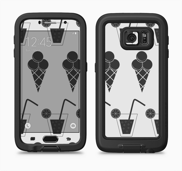 The Black and White Icecream and Drink Pattern Full Body Samsung Galaxy S6 LifeProof Fre Case Skin Kit