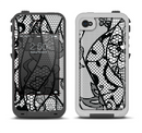 The Black and White Lace Design Apple iPhone 4-4s LifeProof Fre Case Skin Set