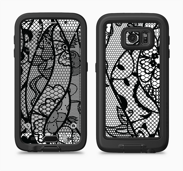 The Black and White Lace Design Full Body Samsung Galaxy S6 LifeProof Fre Case Skin Kit