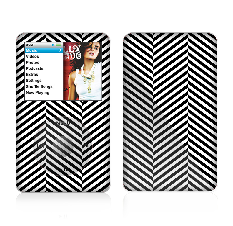 The Black and White Opposite Stripes Skin For The Apple iPod Classic