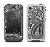 The Black and White Paisley Pattern V6 Apple iPhone 4-4s LifeProof Fre Case Skin Set